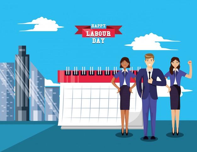 ビジネスマンとの幸せな労働者の日