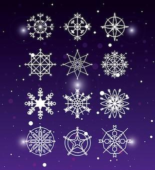 装飾的なクリスマスの雪片セット