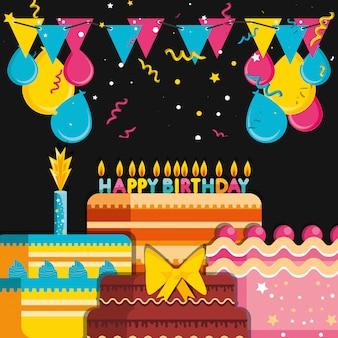 風船ヘリウムの装飾が施された誕生日ケーキ
