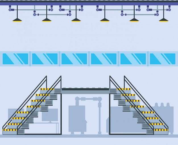 階段のある工場内