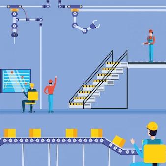 技術工場の産業労働者