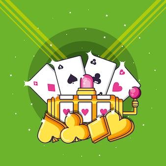 カジノゲームのスロットマシンとポーカー