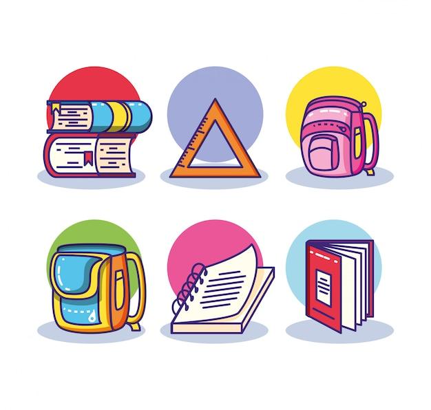 Набор стопку книг и расходных материалов школы