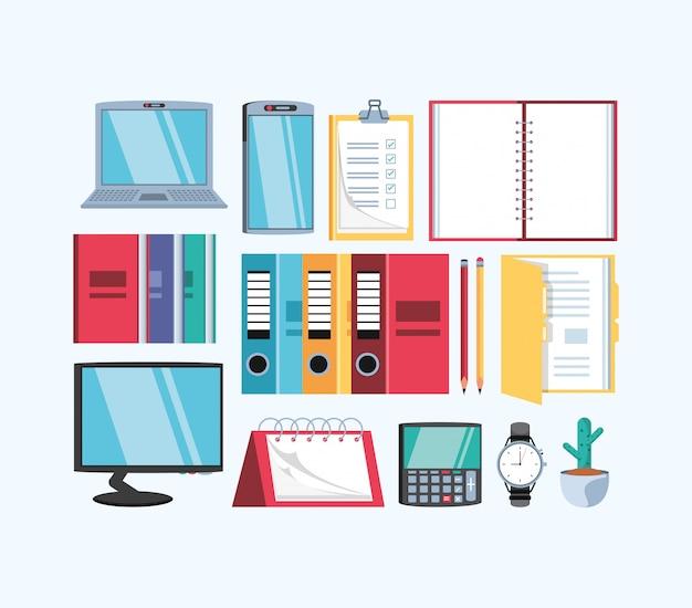 セット用品オフィスのラップトップコンピューター