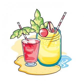 ジュースフルーツとトロピカルカクテルドリンク