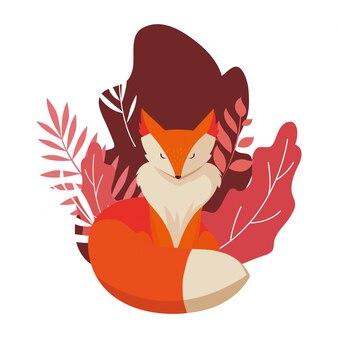 フォックス哺乳類幸せな秋のシーズンフラット