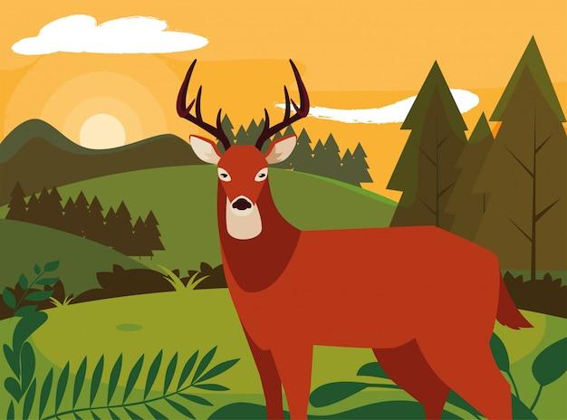 鹿幸せな秋のシーズンフラット