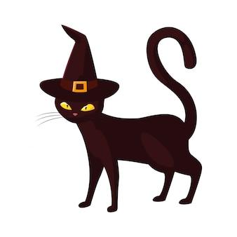 Черная кошка с праздником хэллоуин
