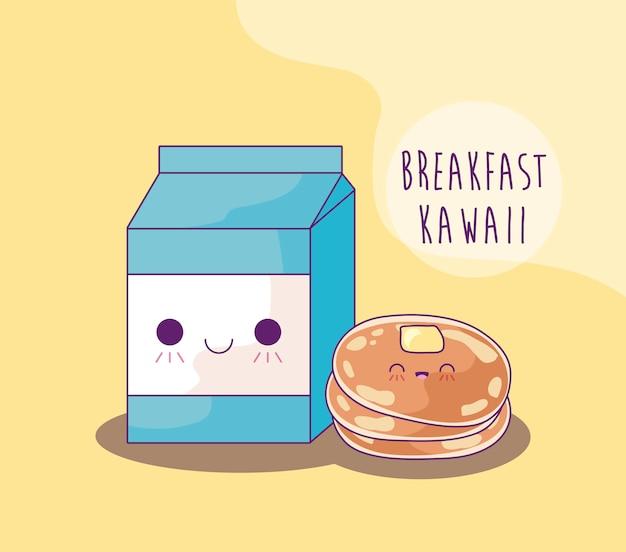 朝食カワイイスタイルのボックスミルクとパンケーキ