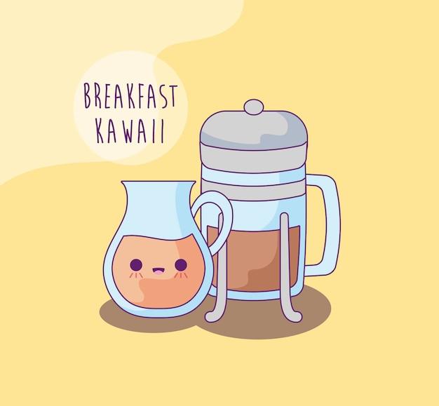 コーヒーの飲み物とカワイイスタイルの朝食のボトルのやかん