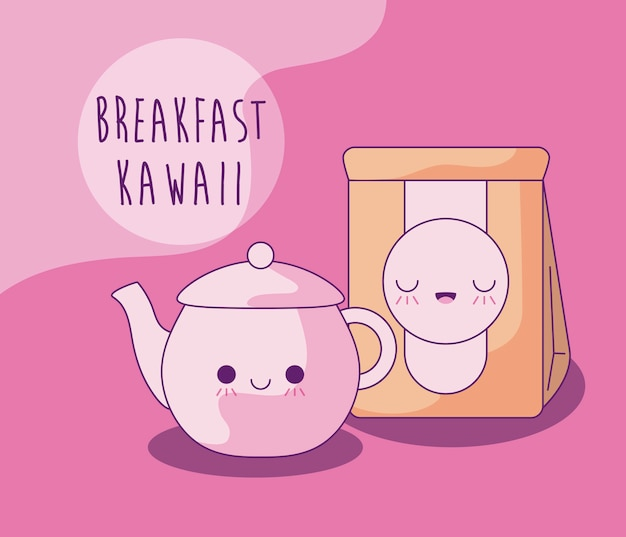 Чайник с бумажной сумкой для завтрака в стиле каваи
