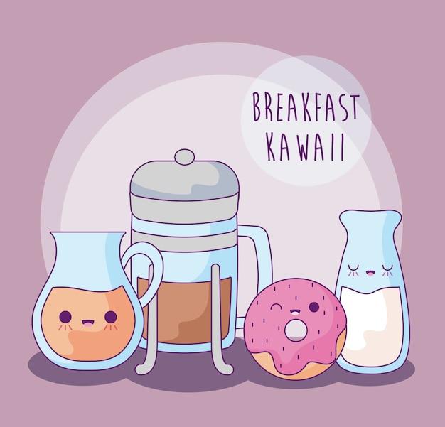 朝食カワイイスタイルのおいしい食べ物のセット
