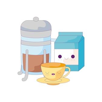 Чашка керамическая с набором пищевых стилей каваи
