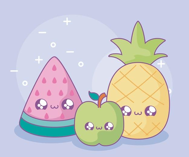 パイナップルとリンゴのカワイイスタイルでスイカをスライスします。