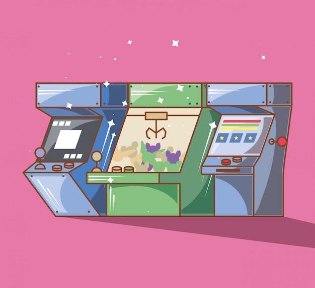 さまざまなスタイルのクラシックビデオゲームコンソール