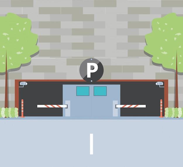 Здание с въездом парковочной зоны и баррикады