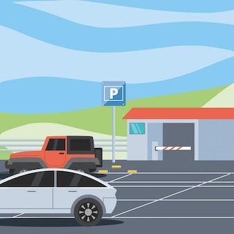 券売機とバリケードシーンのある駐車場