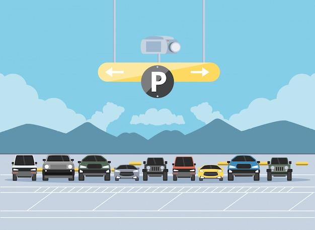駐車場の都市景観図