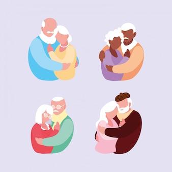 抱きしめる老夫婦のグループ