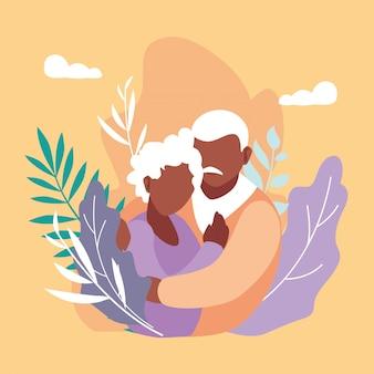 かわいい老夫婦と抱きしめる葉の装飾
