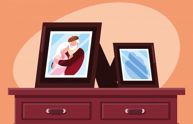抱きしめられるかわいい老夫婦の写真