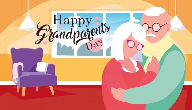 Счастливый день бабушки и дедушки постер с парой обнял
