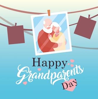 写真の古いカップルぶら下げと幸せな祖父母の日のポスター