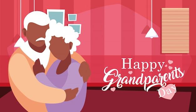 抱きしめるカップルと幸せな祖父母の日のポスター