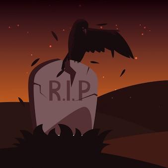 カラス動物とハロウィーンの墓石