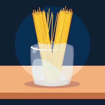Свежие традиционные спагетти в стеклянной таре