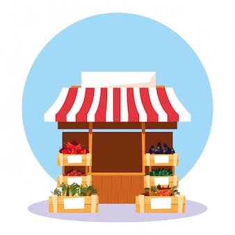店内新鮮野菜の屋台キオスク