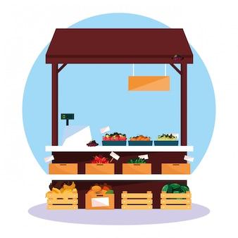 店の野菜や果物の屋台キオスク