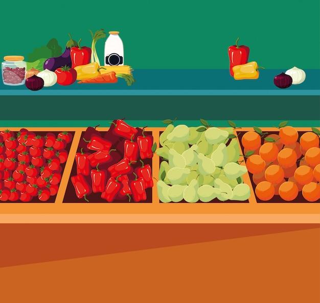 Витрина деревянного магазина с овощами и фруктами