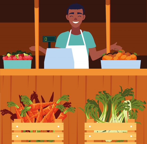 店の野菜の屋台キオスクを持つセールスマン
