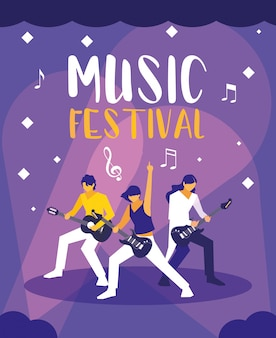 エレキギターを弾く人々との音楽祭