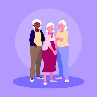古い女性のアバターキャラクターのグループ
