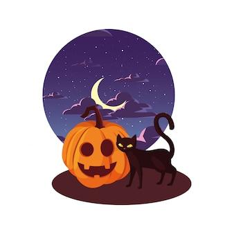 Тыквенный кот с праздником хэллоуина