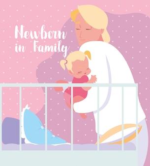 お父さんと女の赤ちゃんと家族カードで新生児
