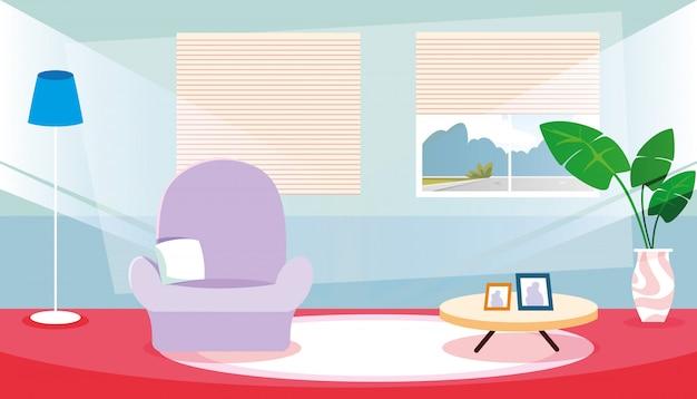 ソファと装飾インテリアのシーンの中の家