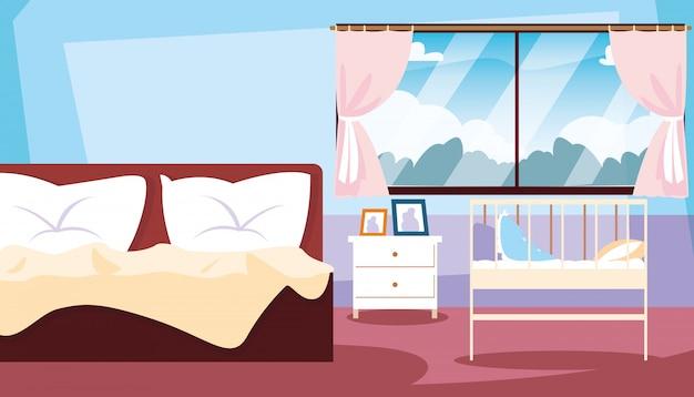 Спальня внутри с кроватью и детской кроваткой