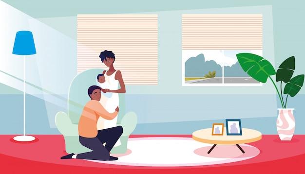 Родители с новорожденным внутри дома