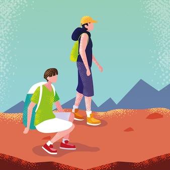 Мужчины путешественник в пейзаже аватар персонажа