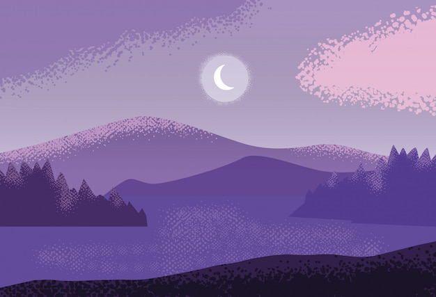 Пейзаж природа фиолетовый фон сцены