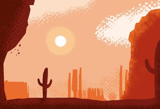砂漠の風景シーン、自然の背景