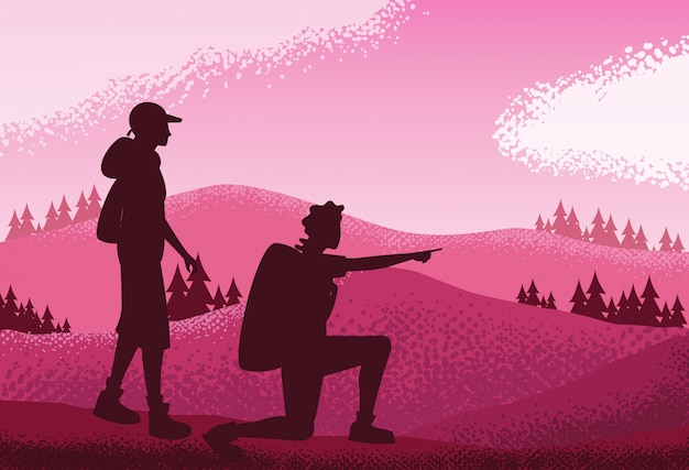 風景自然のピンクのシーンの背景のカップル