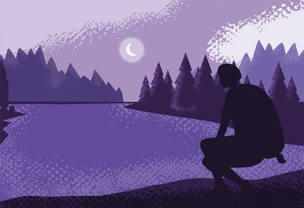 Человек путешественник в природе пейзаж фиолетовый