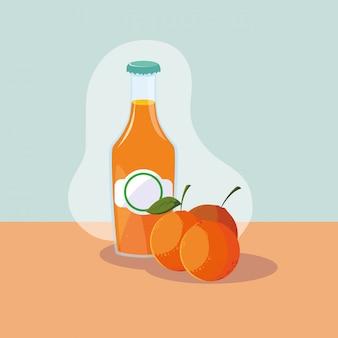 自然のジュースのボトルと新鮮なオレンジ