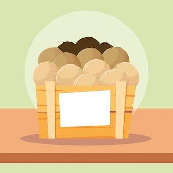 木枠にカンタロープフレッシュフルーツ