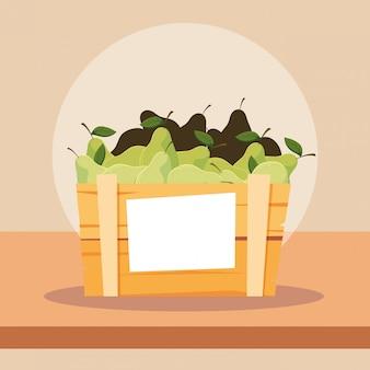 Свежие груши фрукты в деревянный ящик