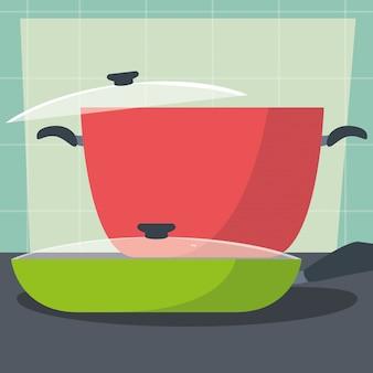 キッチンの鍋と鍋